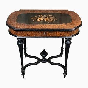 Table d'Appoint Napoléon III Antique en Bois Noirci avec Décor en Marqueterie