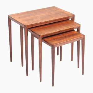 Mid-Century Rosewood Nesting Tables by Erik Risager Hansen for Haslev Møbelsnedkeri, 1950s