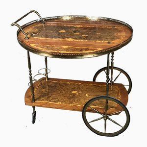 Vintage Inlaid Rosewood and Brass Trolley