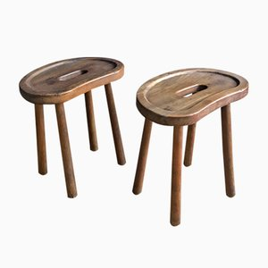Mid-Century French Solid Wooden Stools, 1960s, Set of 2
