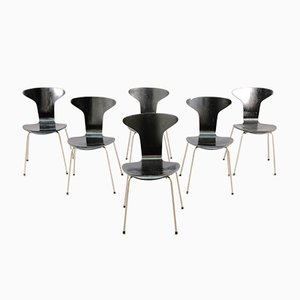 Sedie da pranzo Moskito 3105 Mid-Century di Arne Jacobsen per Fritz Hansen, set di 6