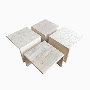 Table Basse Modulable en Travertin, 1970s