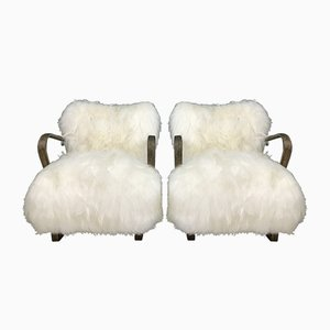 Bentwood and White Sheepskin Model WH237 Armchairs by Jindřich Halabala, 1940s, Set of 2