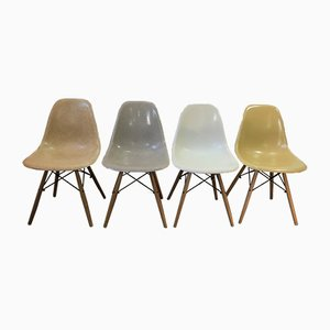 Mid-Century Light Oak DSW Dining Chairs by Charles & Ray Eames for Herman Miller, Set of 4