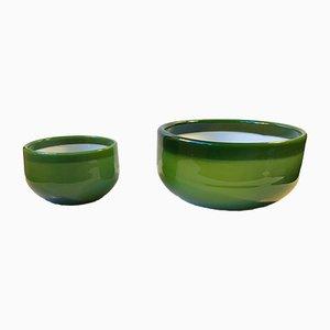 Bols à Salade et Palette Verts par Michael Bang pour Holmegaard, 1970s, Set de 2