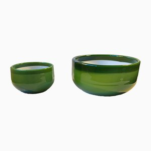 Green Palet Snack and Salad Bowls by Michael Bang for Holmegaard, 1970s, Set of 2