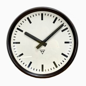 Large Industrial Bakelite Factory Wall Clock from Pragotron, 1960s
