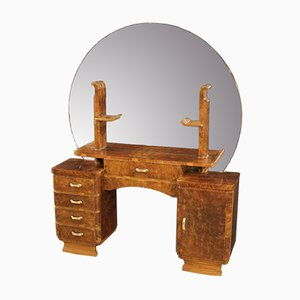 Italian Walnut and Burl Wood Dressing Table, 1950s