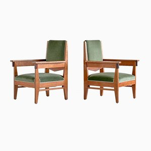 Art Deco Oak and Macassar Ebony Armchairs by Anton Lucas, 1920s, Set of 2