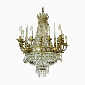 Empire Style Gilded Bronze and Crystal Chandelier, 1960s