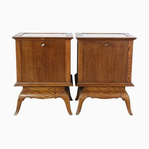 Mid-Century French Mirror Top Nightstands, 1940s, Set of 2