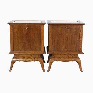 Tables de Chevet Mid-Century avec Miroir, France, 1940s, Set de 2