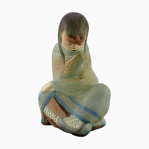 Large Sitting Girl Sculpture in Glazed Ceramic from Lladro, Spain, 1980s