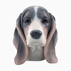 Basset Hound Figure in Glazed Porcelain from Lladro, Spain, 1980s