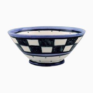 Dänische Schale aus handbemalter Keramik mit kariertem Design