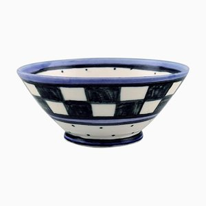 Danish Bowl in Hand-Painted Ceramic with Checkered Design