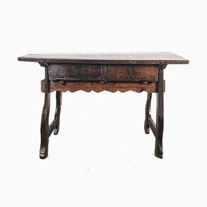 Antiker spanischer Beistelltisch aus Nussholz mit einer Plank Platte