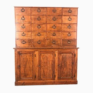 Vintage Pitch Pine and Oak Fronted Clapet File Cabinet