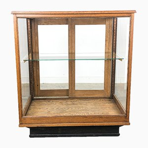 Small Vintage Oak Shop Counter Vitrine, USA
