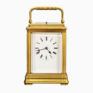 Large Gilt Brass Gorge Cased Repeat Carriage Clock with Travel Case, 1885