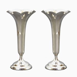 Antique Silver Trumpet Bud Vases from Horace Woodward, London, 1906, Set of 2