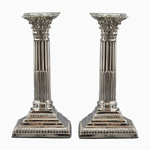 Corinthian Column Silver Candleholders from William Hutton, 1912, Set of 2