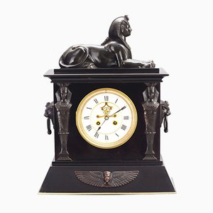 French Black Marble Egyptian Revival Mantel Clock with Bronze Mounts, 1875