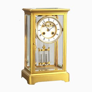 Gilt Four Glass Mantel Clock with Visible Escapement from S. Marti & Cie, 1875