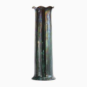Sehr Hohe Irisierende Zylindrische Glasvase von Linthorpe Pottery, 1885