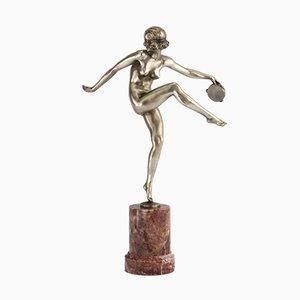 Figura bailarina de pandereta Art Déco de bronce plateado de Pierre Laurel para Marcel Guillemard, años 20