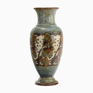 Große Vase aus Steingut mit schwarzer Blüte von Eliza Simmance für Doulton Lambeth / Royal Doulton, 1910