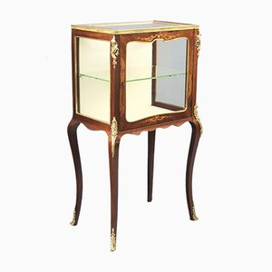 French Inlaid Rosewood Display Cabinet or Vitrine with Ormolu Mounts, 1880s