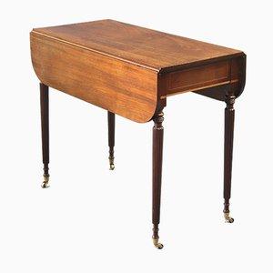 Table Pembroke en Acajou Figuré en Acajou avec Pieds Reed, 1820s