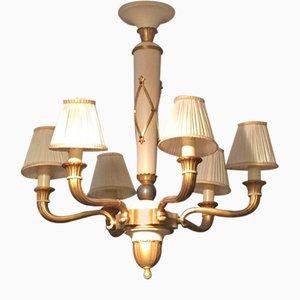 Vintage Art Deco Kronleuchter aus vergoldeter Bronze mit 6 Leuchten