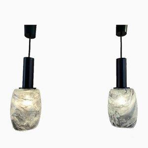 Lampes à Suspension en Marbre Gris de Peill & Putzler, 1970s, Set de 2