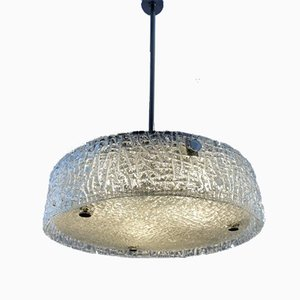 Textured Glass Ceiling Lamp from Kaiser, 1960s