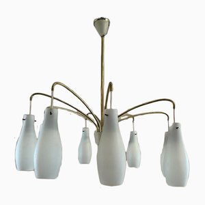 8-Shade Opaline Glass and Brass Hanging Lamp, 1960s