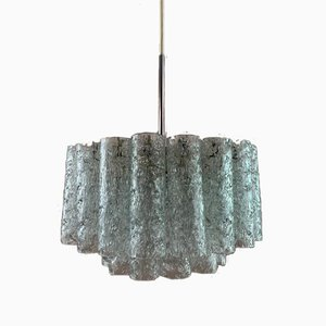German Tubular Crystal Glass Chandelier from Doria Leuchten, 1960s