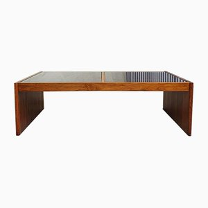 Mid-Century Danish Rosewood Glass Grid Coffee Table by Komfort