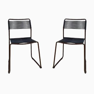Mid-Century Italian Spaghetti Distressed Dining Chairs, Set of 2