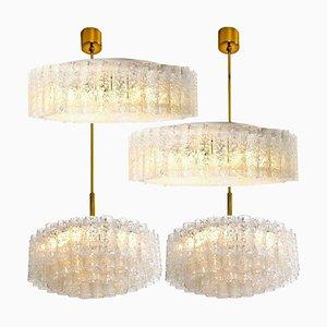 Glass Brass Light Fixtures by Doria Leuchten Germany, 1960s, Set of 4