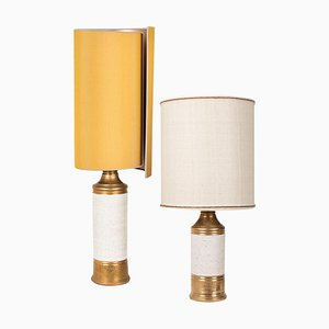 Birch Table Lamps with Silk Lampshade by Bitossi, 1960s, Set of 2