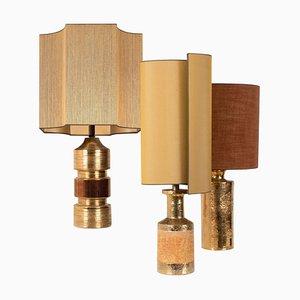 Tischlampen mit Lampenschirmen aus Seide von Bitossi, 1960er, 3er Set