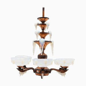 Art Deco Icicle Glass Chandelier from Ezan & Petitot, France, 1930s