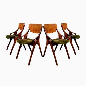 Chaises de Salon Vintage en Velours par Arne Hovmand Olsen pour Mogens Kold, 1950s, Set de 4