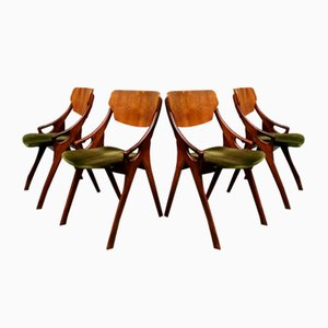 Vintage Velvet Dining Chairs by Arne Hovmand Olsen for Mogens Kold, 1950s, Set of 4