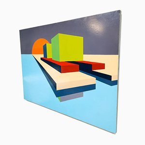 Modern Art Painting with Geometric Colored Shapes by Betty, 1974