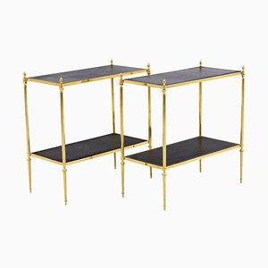 End Tables in Gilt Brass and Leather, 1970s, Set of 2