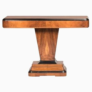 Art Deco Walnut and Black Ebonized Lacquered Detailed Console Table, 1930s