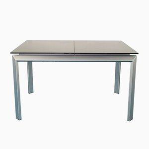 Extendable Aluminum and Black Tempered Glass Dining Table, 1990s